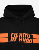 Stripes County Print Black Hoodie