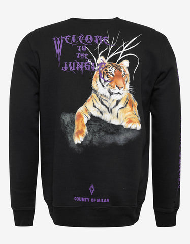 Marcelo Burlon Tiger Print Black Sweatshirt