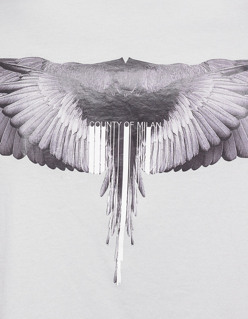 Wings Barcode Print Grey Oversized T-Shirt