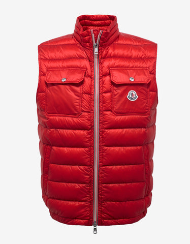 Moncler Achille Red Nylon Down Gilet