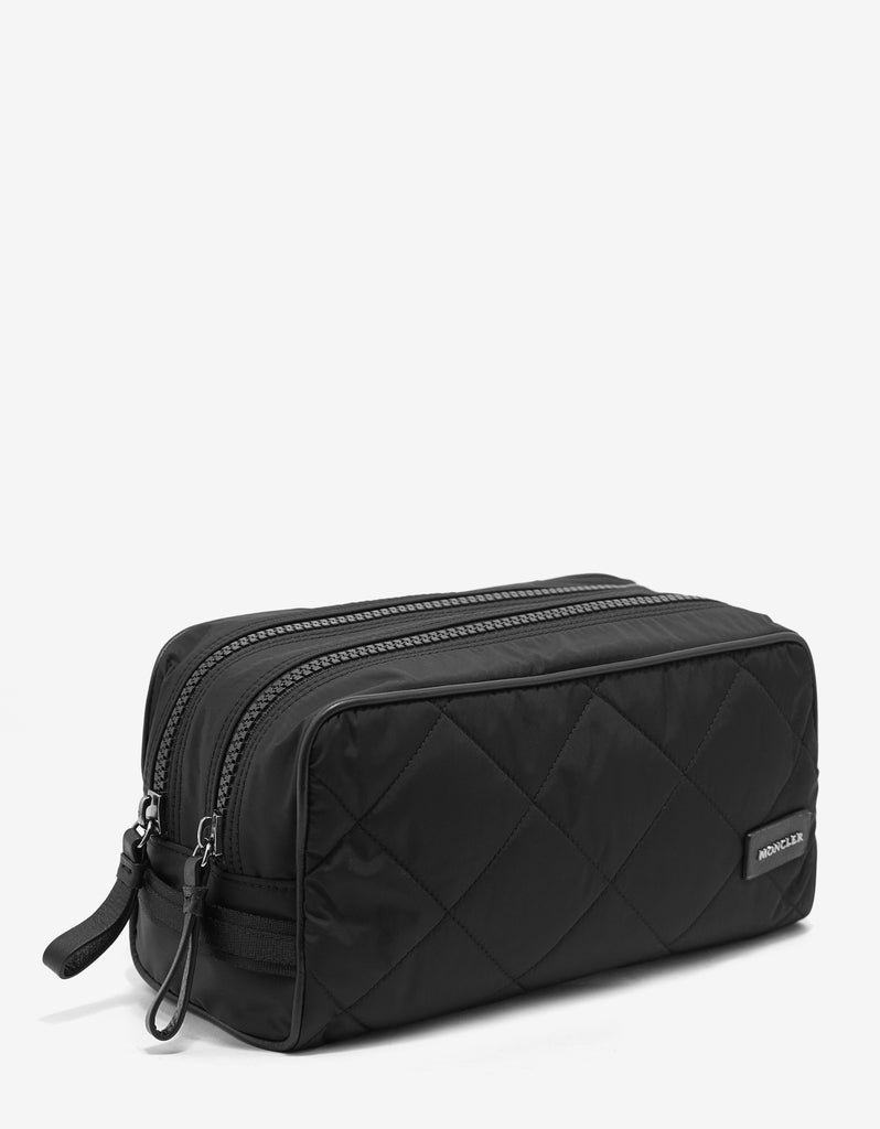 Beauty 2 Zip Black Quilted Wash Bag