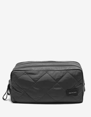 Beauty 2 Zip Grey Quilted Wash Bag