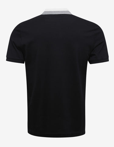 Moncler Black Contrast Collar Polo T-Shirt