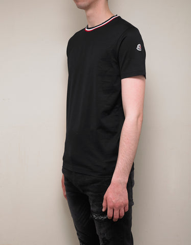 Moncler Black Contrast Collar T-Shirt