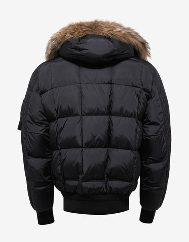 Moncler Muscade Black Wool Front Down Jacket