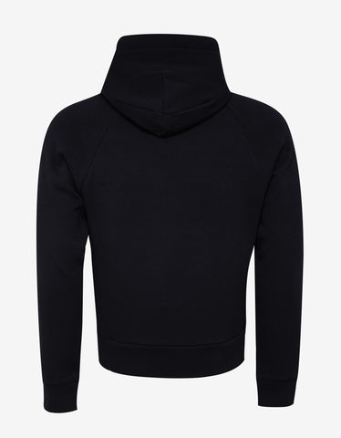 Moncler Grenoble Dark Blue Logo Hoodie with Padded Collar