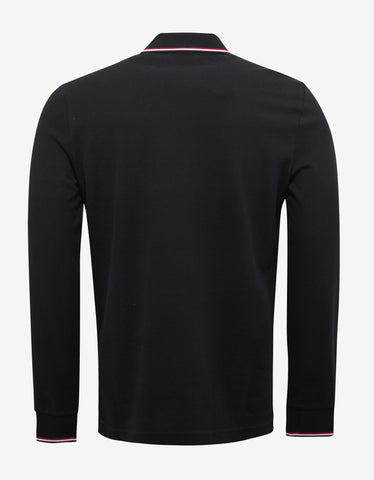 Moncler Black Tricolour Long Sleeve Polo T-Shirt