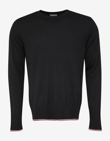 Moncler Black Tricolour Trim Wool Sweater