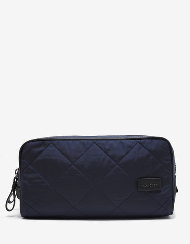 Moncler Beauty 2 Zip Navy Blue Quilted Wash Bag