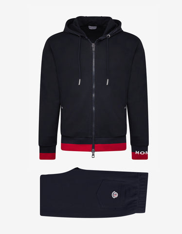 Moncler Navy Blue Tracksuit with Red Trim