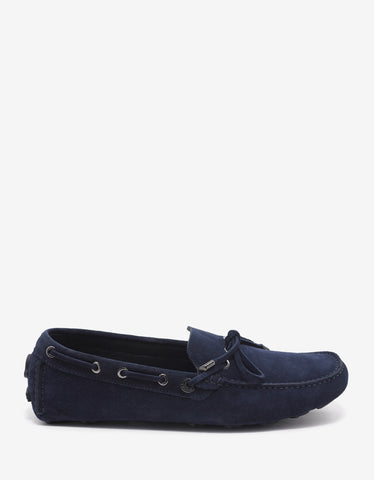 Moncler Aymeric Navy Blue Suede Leather Driving Shoes