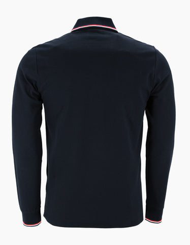 Moncler Navy Blue Tricolour Long Sleeve Polo T-Shirt