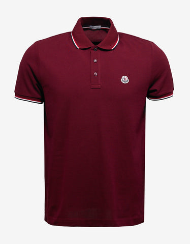 Moncler Burgundy Tricolour Polo T-Shirt