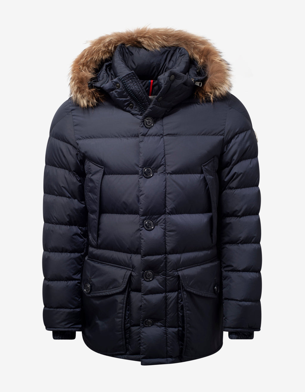 Cluny Navy Blue Fur Trim Down Jacket