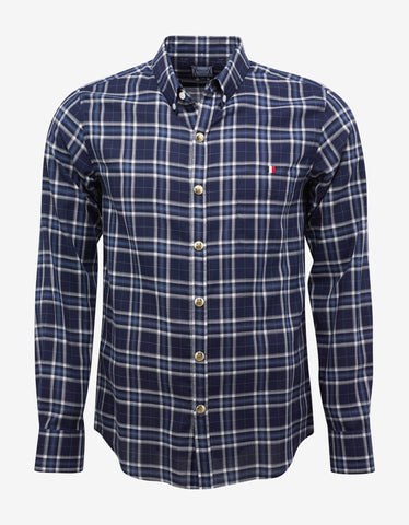 Moncler Gamme Bleu Blue Check Button-Down Collar Shirt