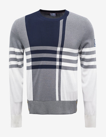 Moncler Gamme Bleu Blue & White Check Sweater