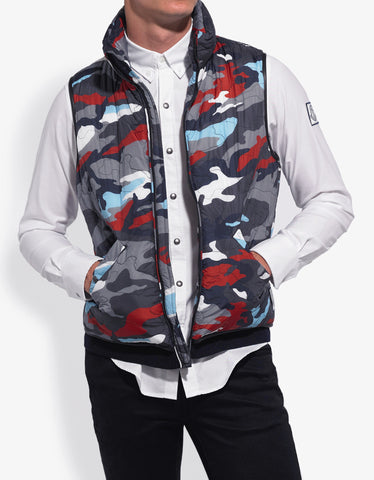 Moncler Gamme Bleu Camouflage Graphic Print Gilet