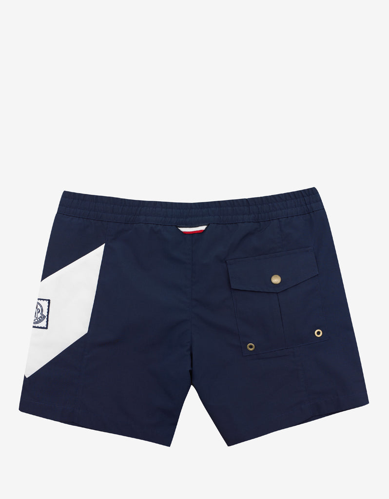 Navy Blue Swim Shorts with Chevron
