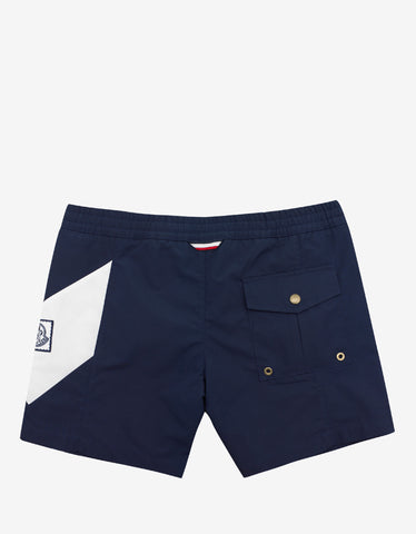 Moncler Gamme Bleu Navy Blue Swim Shorts with Chevron
