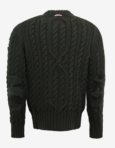 Moncler Gamme Bleu Green Cable Knit Sweater