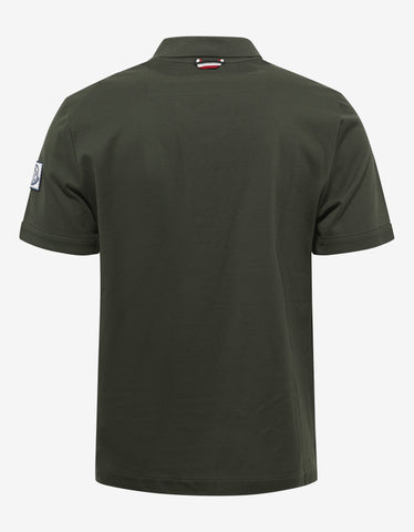 Moncler Gamme Bleu Olive Green Pique Cotton Polo T-Shirt