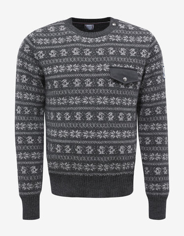 Moncler Gamme Bleu Grey Fair Isle Wool Blend Sweater