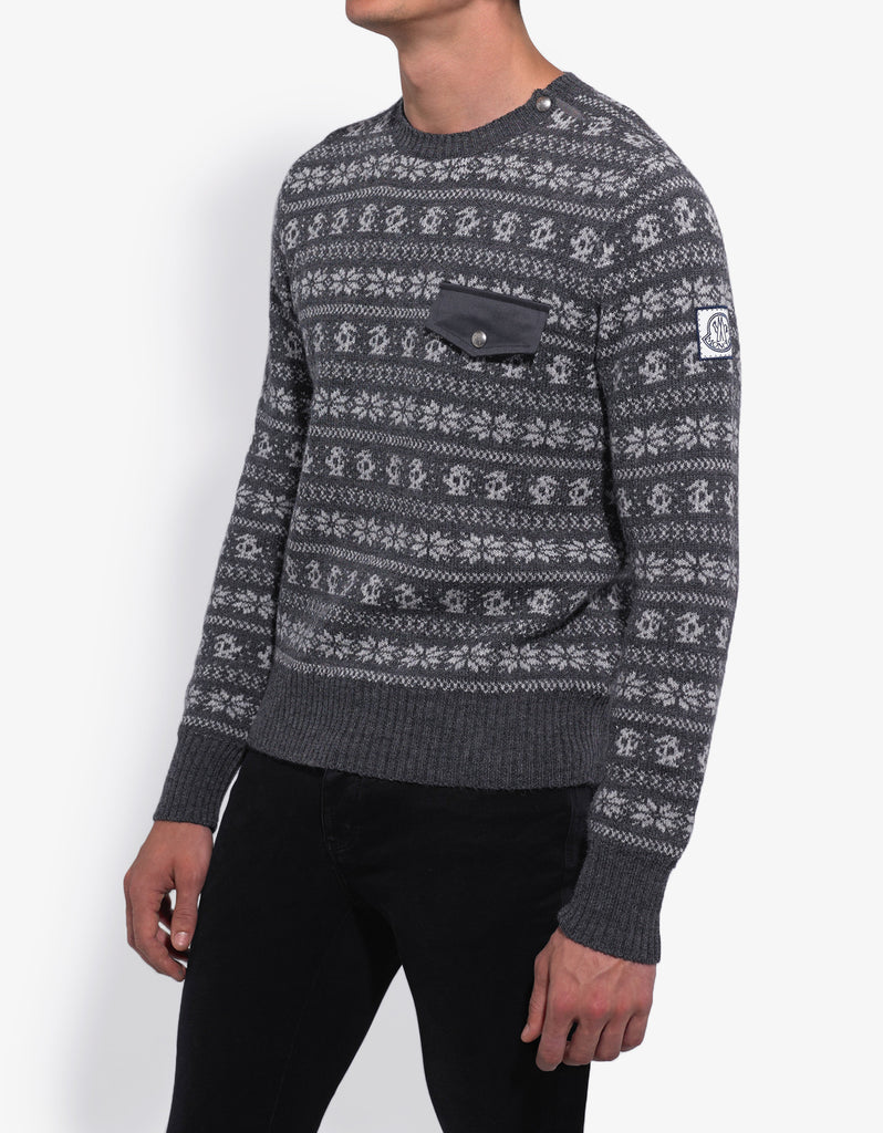 Grey Fair Isle Wool Blend Sweater