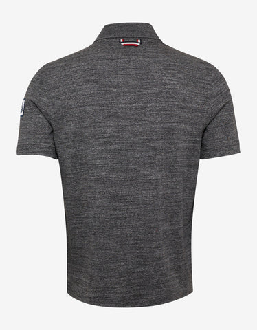 Moncler Gamme Bleu Grey Polo T-Shirt with Tricolour Trim