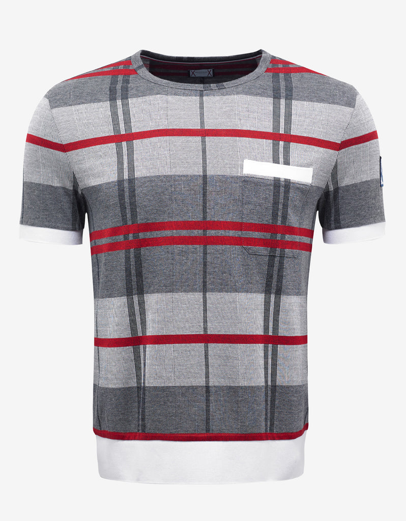 Grey & Red Check Knitted T-Shirt