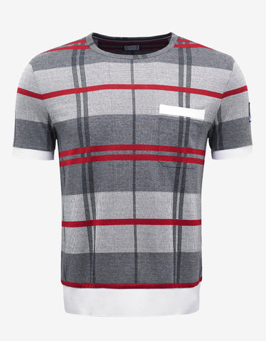 Moncler Gamme Bleu Grey & Red Check Knitted T-Shirt