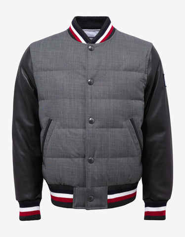 Moncler Gamme Bleu Grey Varsity Jacket with Leather Sleeves