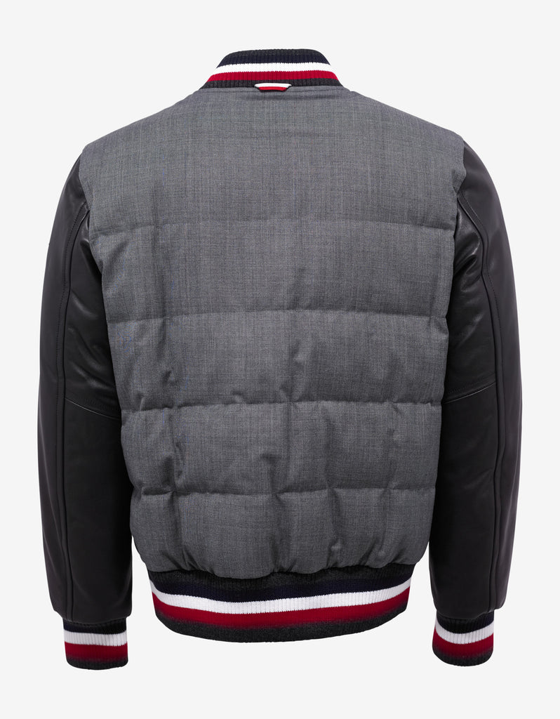 Grey Varsity Jacket with Leather Sleeves