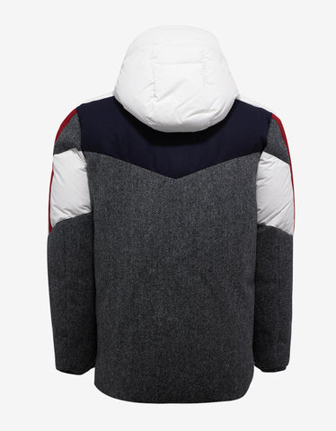 Moncler Gamme Bleu Grey Wool Colour Blocked Down Jacket