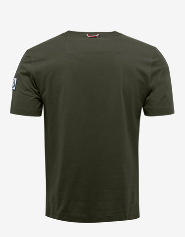 Moncler Gamme Bleu Olive Green T-Shirt with Check Silhouette