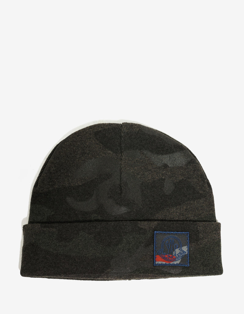 Green Camouflage Wool Beanie Hat