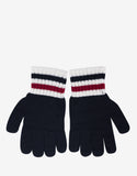 Navy Blue Knitted Tricolour Trim Gloves