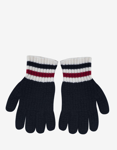 Moncler Gamme Bleu Navy Blue Knitted Tricolour Trim Gloves