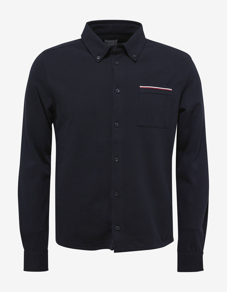 Navy Blue Pique Cotton Shirt
