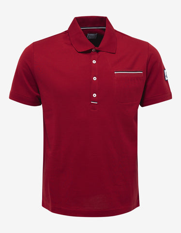 Moncler Gamme Bleu Red Pique Cotton Polo T-Shirt