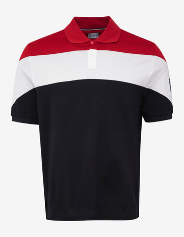 Moncler Gamme Bleu Tricolour Panel Polo T-Shirt