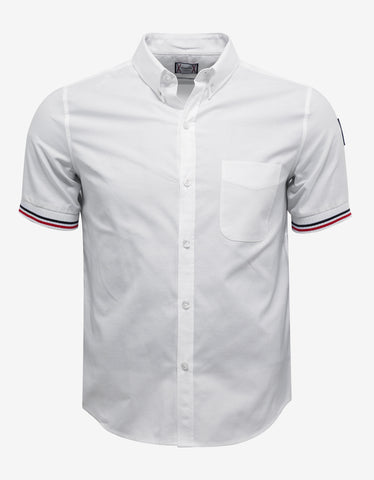 Moncler Gamme Bleu White Shirt with Tricolour Sleeve Trim