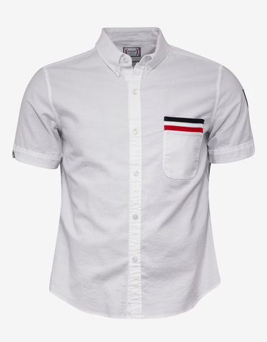 Moncler Gamme Bleu White Tricolour Trim Short Sleeve Shirt