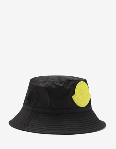2 Moncler 1952 Black Nylon Logo Bucket Hat