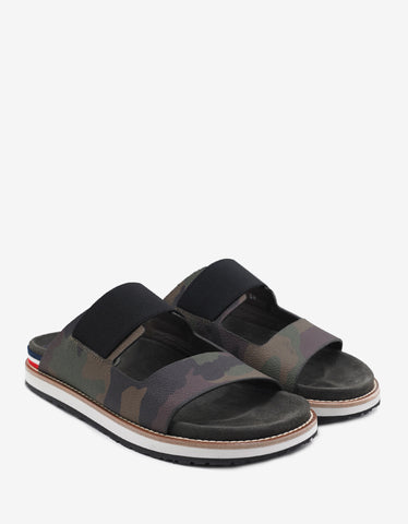 Basile Black Tricolour Logo Slide Sandals