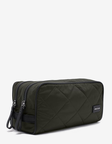 Moncler Beauty 2 Zip Khaki Quilted Wash Bag