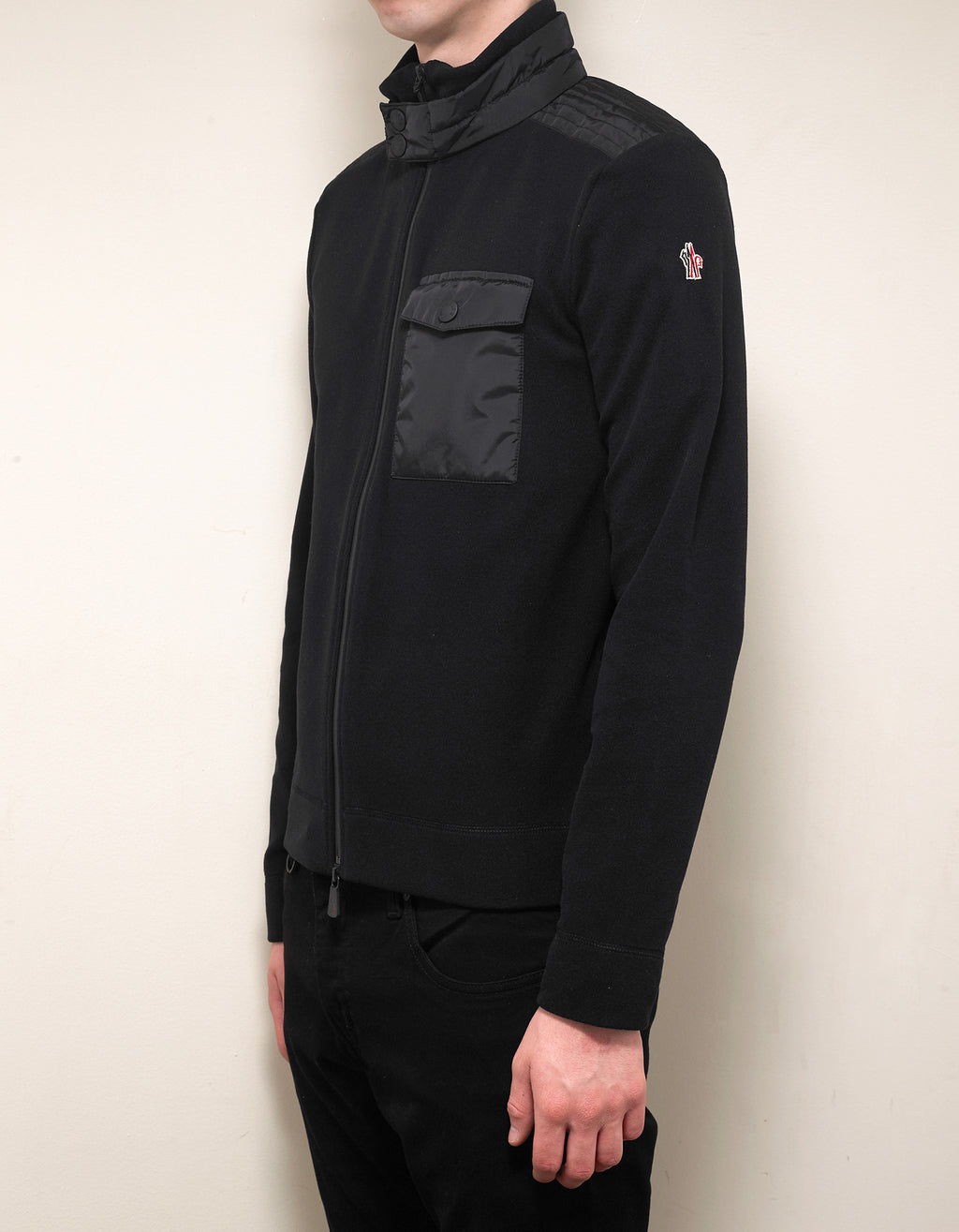 Black Nylon Panel Fleece