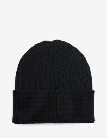 Moncler Grenoble Black Beanie Hat with Logo