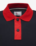 Navy Blue Nylon Trim Polo T-Shirt