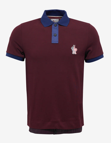 Moncler Grenoble Burgundy Nylon Trim Polo T-Shirt
