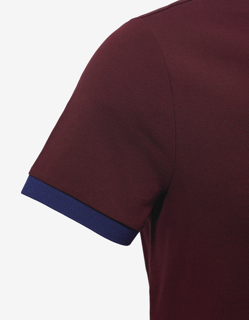 Burgundy Nylon Trim Polo T-Shirt